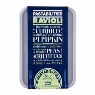 Ravioli - Curried Pumpkin, Peas, Ricotta and Coriander