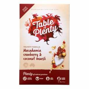 Muesli 'Velvety Vanilla' Macadamia Cranberry and Coconut